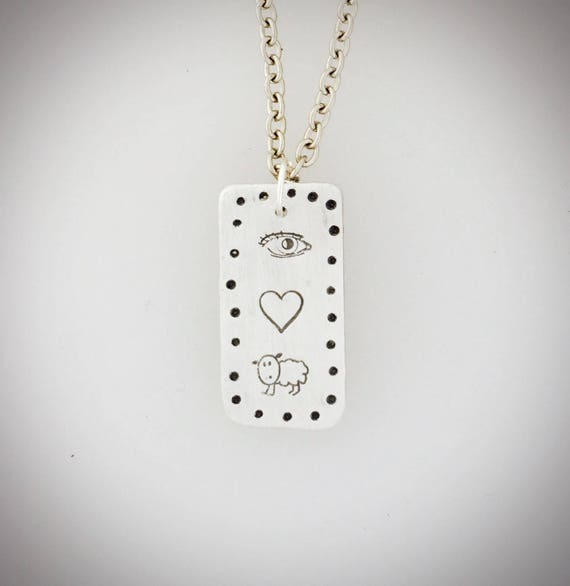 Eye Heart Ewe Tag Necklace- Tag necklace-Emoji-cartouche-vegan necklace-vegan jewelry-vegan gift-Valentine's Day-Valentine's Gift