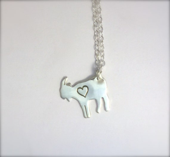 Mini Goat with Heart Necklace-Recycled Sterling-Vegan Jewelry-Vegan Necklace-Gift-Birthday-Anniversary-Capricorn-Zodiac-Ethical-Eco Friendly