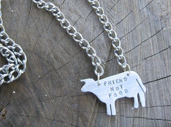 Father's Day-Vegan Necklace- Friend not Food Cow Necklace-Vegan Jewelry-Vegan Dad-Birthday-Anniversary-Ethical Jewelry-EcoFriendly-