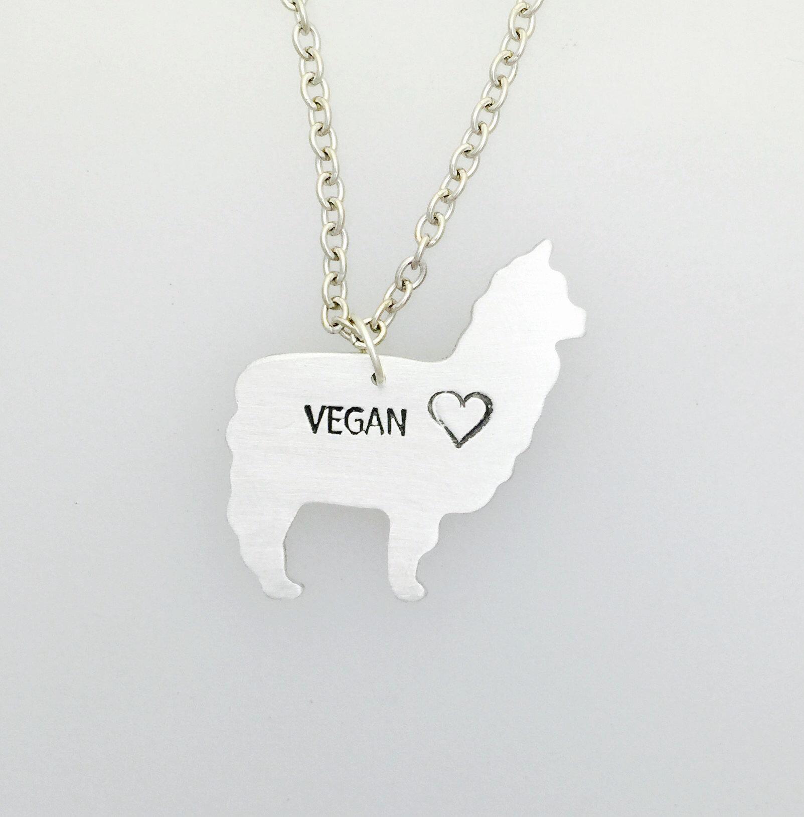 Vegan Llama Necklace Herbivore Llama Vegan Necklace Llama Vegan