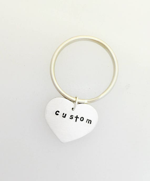 Custom Heart Keychain-Personalized keychain-vegan gift-Valentine's Gift-Heart Keychain-Birthday-Anniversary-Gift-Wedding-vegan keychain