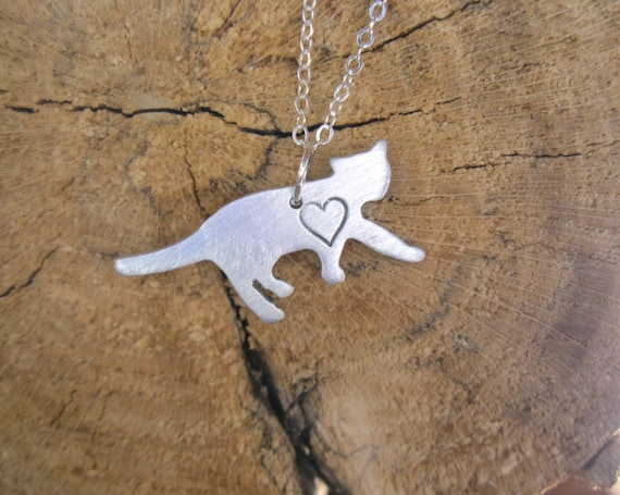 Cat Necklace-Mini Cat with Heart-Rescue Cat- Animal Lover- Pet Memorial-Vegan-Gift-house Cat- Eco Friendly-Mother's Day-Valentines Day