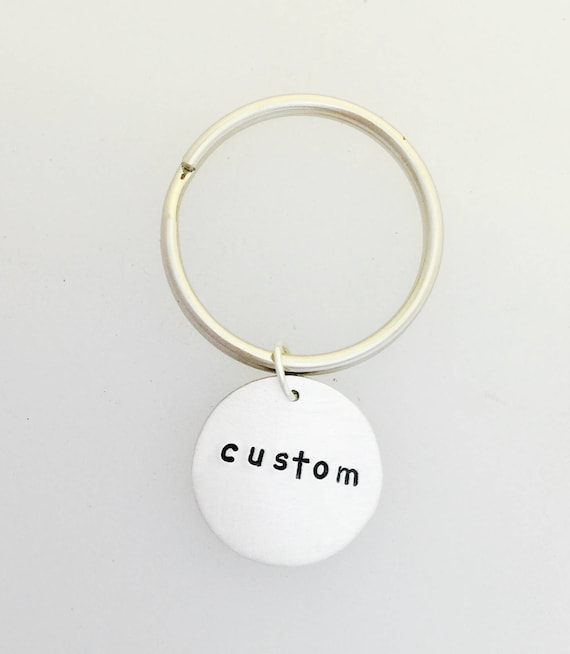 Custom Keychain-Circle keychain-Personalized-Gift-Wedding-Birthday-Anniversary-Unisex gift-Vegan gift-Vegan Keychain-Men's Keychain-Gifts