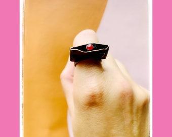 Fire Fold Formed Geometric Ring-Geometric jewelry-Desert Love-Gemstone Ring-Vegan Ring-Art Jewelry-Vegan Jewelry-Desert Vibes-Healing gems