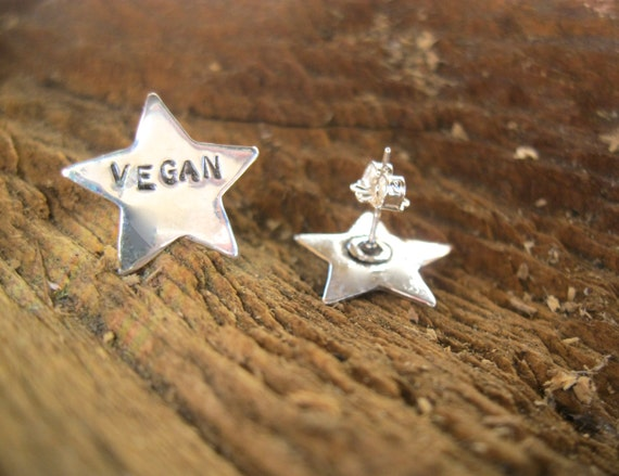 Vegan Earrings-Recycled sterling Vegan Star Earrings-Vegan Jewelry-Vegan Gift-Birthday-Anniversary-Eco Friendly-Recycled Metals