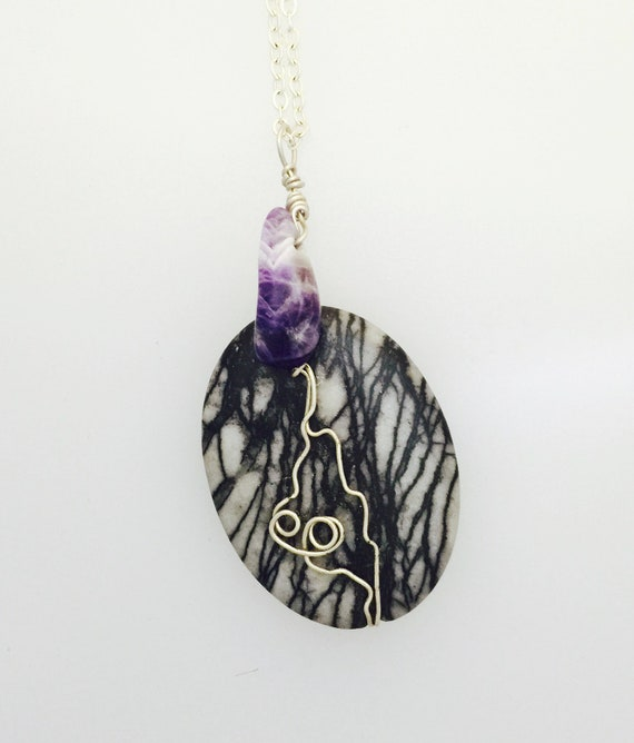 Picasso Stone with Chevron Amethyst Necklace-Wire Wrap necklace-Gemstone Necklace-Healing Crystals-Natural Stone Necklace-Vegan Necklace