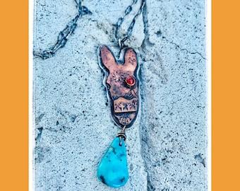 Desert Donkey Head with Bisbee Turquoise-Desert Jewelry- Cacti Jewelry-Desert Jewelry-Desert Love-Vegan Necklace-Vegan Jewelry-Cacti Jewelry