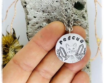 Flowers Crystals Rescue cat necklace-cat jewelry -cat lover -cat lady-vegan necklace-vegan jewelry-cats