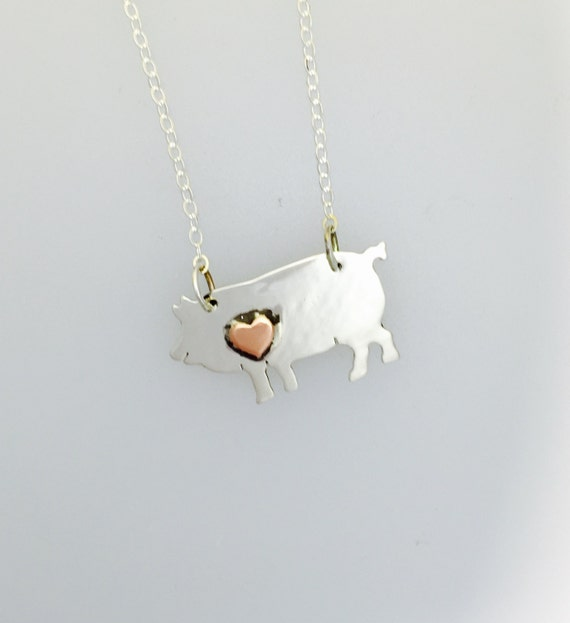 Pig with Copper Heart necklace-Recycled Sterling Silver-vegan necklace-vegan jewelry-vegan gift-birthday-anniversary-vegananniversary