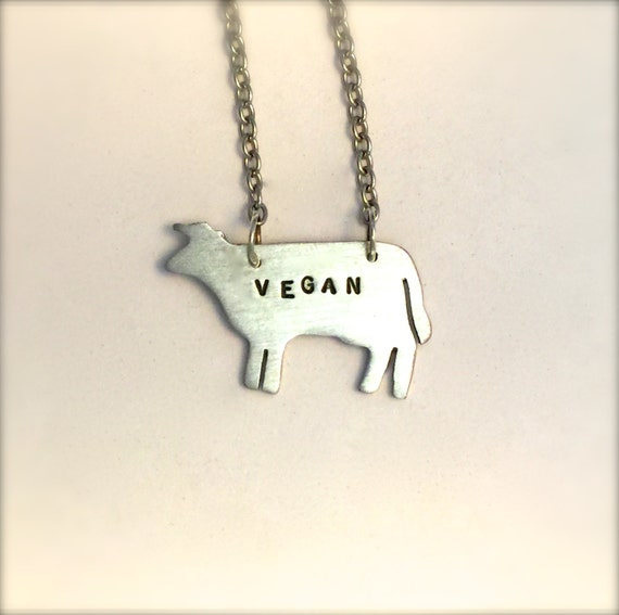 Vegan Cow Eco Friendly necklace-Vegan Jewelry-Plant Based-Recycled Metals-Ethical jewelry-Vegan Gift