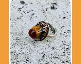 Agate Desert Fire Ring-Agate Ring-Desert Jewelry-Desert Ring-Vegan Ring-Vegan Jewelry-Desert Love-OOAK Ring-OOAK jewelry-Handmade ring