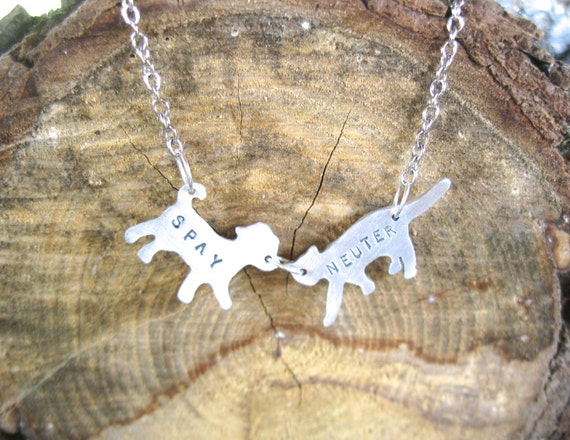 Mini Cat & Dog Spay Neuter Necklace-Vegan Necklace-Companion Animal-Rescue Dog-Rescue Cat-Mixed Breed-Mother's Day-Mutt-Memorial-Gift-Eco