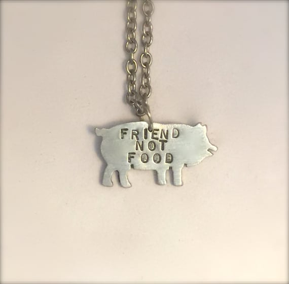 Mini Friend not Food Pig Eco Friendly necklace