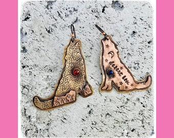 Desert Coyote Earrings-Desert Love-Desert Jewelry-Desert Earrings-Cacti Love-Vegan Earrings-Vegan Jewelry-Coyotes-Handmade earrings-OOAK