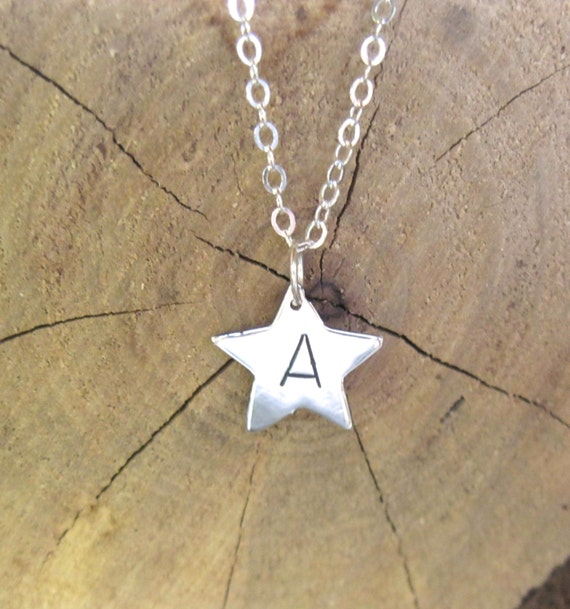 You are a Star Initial Necklace-Monogram-Star Charm-Personalized-Gift-Birthday-Anniversary-Wedding-Vegan Necklace-Recycled Sterling