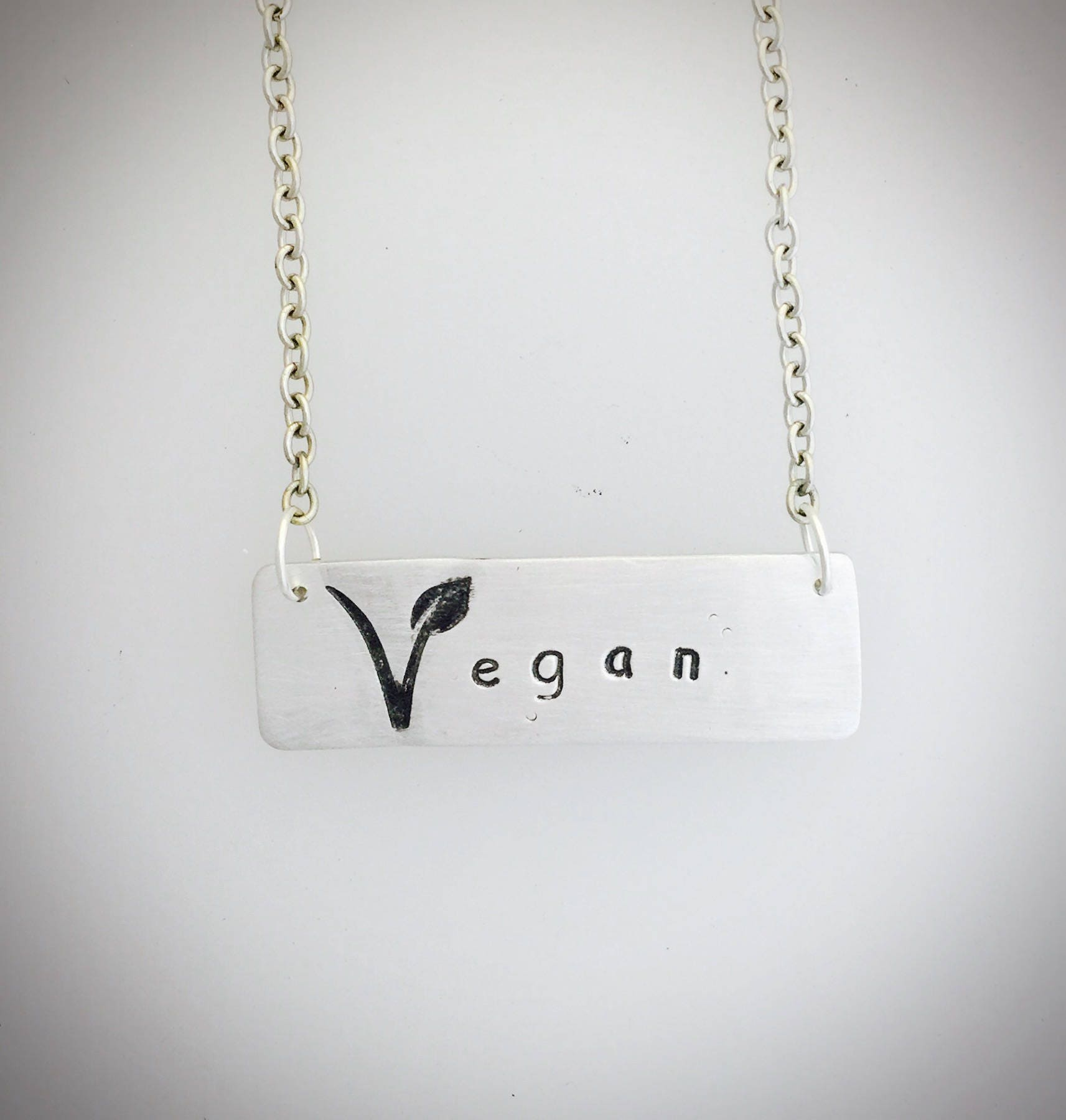 Vegan V Symbol Necklace Jewelry