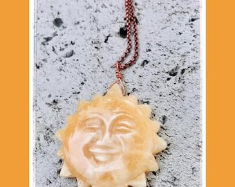 Sun Worshipper Honey Onyx Sun Pendant-Sun Necklace-Desert Love-Sun Worship-Vegan necklace-Vegan Jewelry-Sun Jewelry-arizona-Sun Love