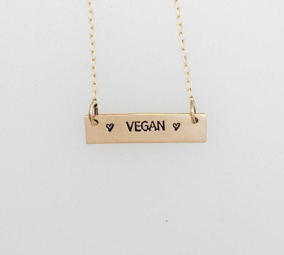 Vegan Rose Gold Necklace-14KT Rose Gold-Filled-Vegan Necklace-Bar Necklace-Pink Gold Fill-Vegan Jewelry-Vegan Gift-Birthday-Anniversary