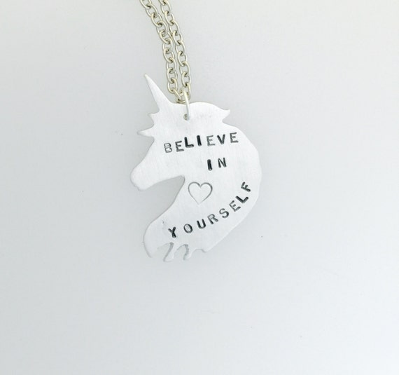 Believe in Yourself Unicorn Necklace- feminist necklace- feminist jewelry- vegan necklace- vegan gift- birthday-anniversry-graduation-Inspo
