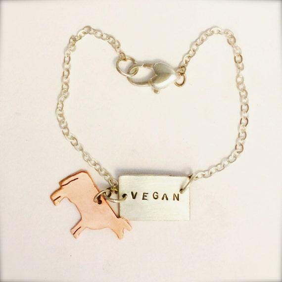 Vegan Bracelet-Vegan-Go Veg Cow Charm Bracelet- Recycled sterling-Eco Friendly-Vegan Jewelry-Gift-Birthday-Anniversary-Ethical-Personalized