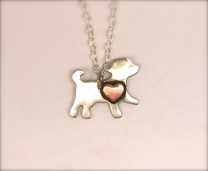 Mini Dog with Copper Heart-Recycled Sterling silver-Vegan necklace-Vegan Jewelry-Dog mom-anniversary-Birthday-Dog lover-Dog necklace
