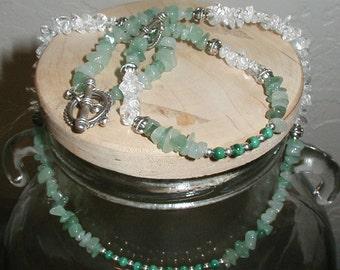 Aventurine, Quartz and Malachite Necklace and Bracelet Set