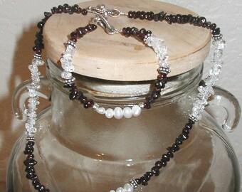 Garnet, Freshwater Pearl and Quartz Choker