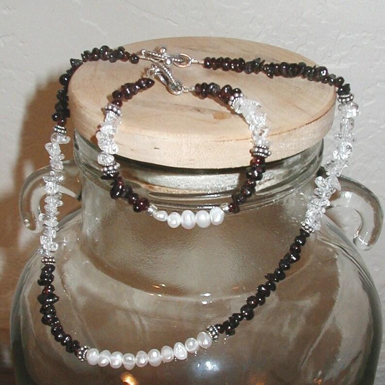 Garnet Freshwater Pearl and Quartz Choker and Bracelet Set image 0