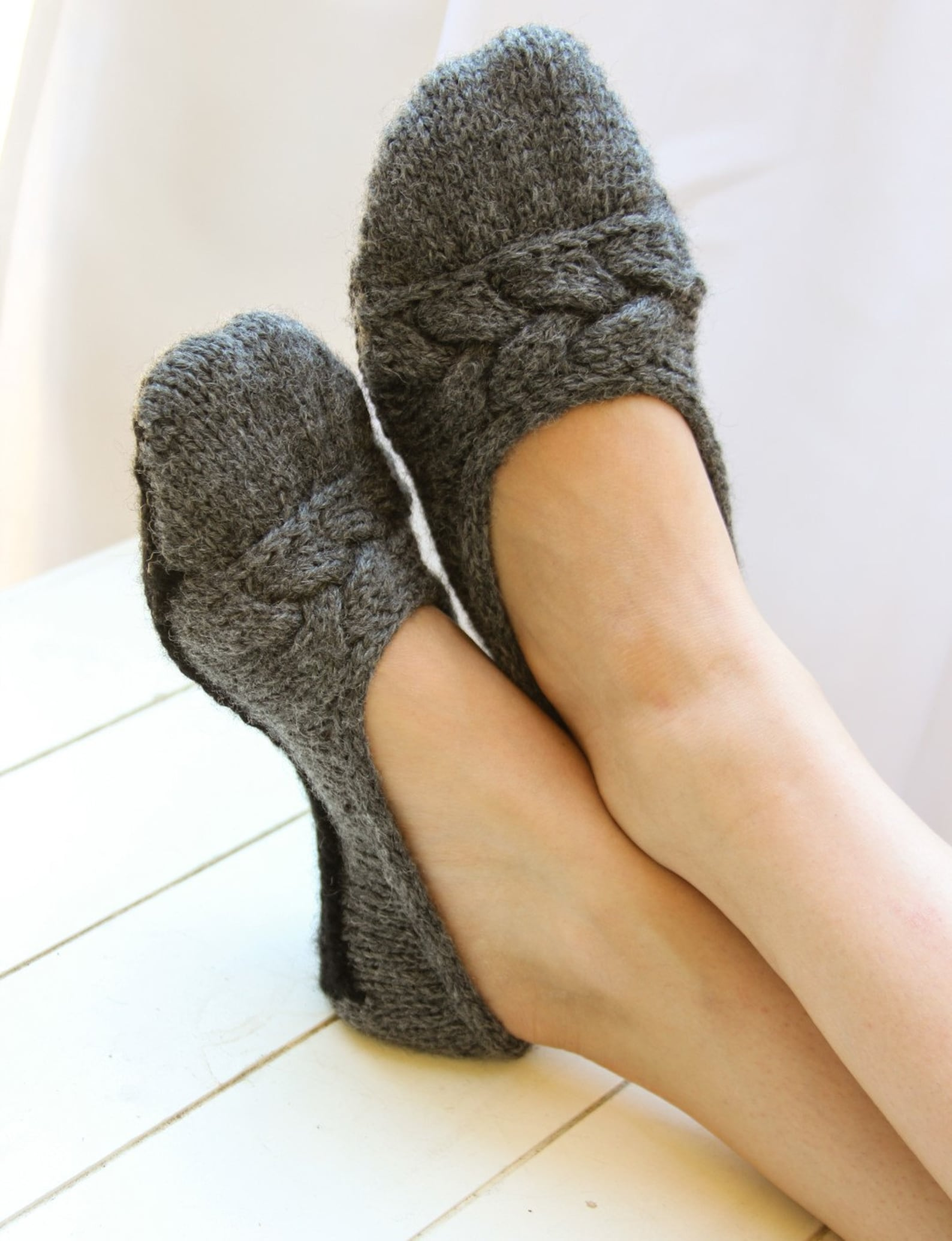 cloud nine ballet slippers pdf pattern - s (m, l, xl) - two tone, cable, cozy, sole, gift, christmas, holiday, knitting, knit