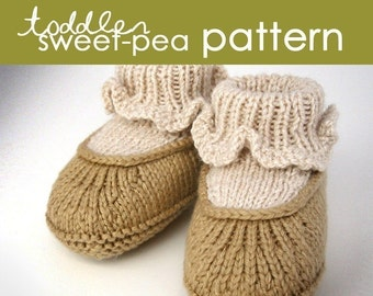 Toddler Sweet-Pea PDF PATTERN - (1, 2, and 3 years) - booties, bootie, moccasin, slipper, ballet, sock, cuff, gift, knitting, knit, feminine
