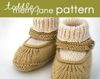 Toddler Merry-Jane PDF PATTERN - (1, 2, and 3 years) - booties, moccasin, slipper, ballet, sock, cuff, gift, knitting, knit, feminine
