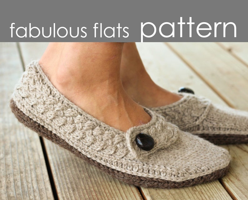 Fabulous Flats PDF PATTERN  S M L XL  slipper bootie image 0