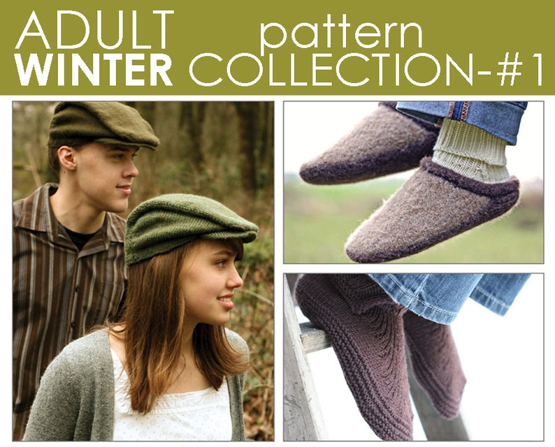 e700949d3fe5a The Adult Winter Pattern Collection 1: Newsie, Moc-a-Soc, and Clog-n-Soc  PATTERNS