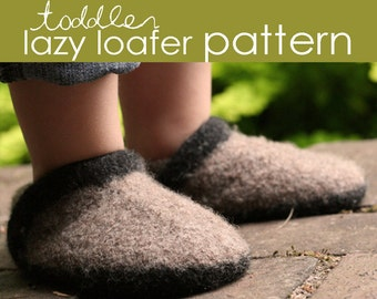 Toddler Lazy Loafer PDF PATTERN - (1, 2, and 3 years) - felted, shoe, booties, clog, slipper, boot, shoelace, baby shower, gift, knitting