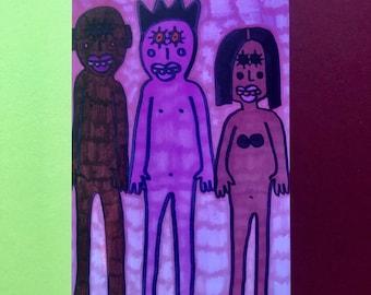 "Outsider Art Brut Signed Art Print, 6x4"" Photo Print, Unusual Wall Art Print, Strange Print, Jay Snelling, Figures"