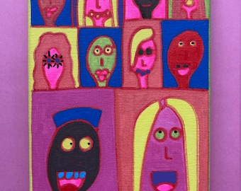 Original Painting / Drawing. Outsider Art Brut by Jay Snelling Mixed Media Illustration. 10 Faces on Blue and Purple.