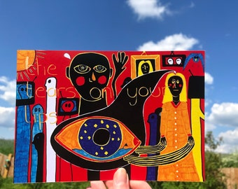 Outsider Art Brut Signed Art Print, 'The Tears On Your Lips', Unusual Wall Art Print, Strange Poster Print, Black, Jay Snelling, Eye
