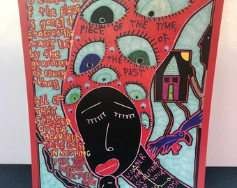 Outsider Art Brut Signed Art Print, Feminine Colourful Drawing Print, Feminist Print, Unusual Wall Art Print, Strange Poster. Secret Santa