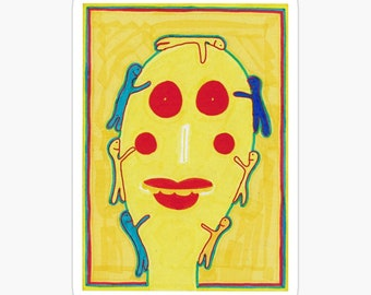 Man With Huggy People Large Sticker, Matte, 10.2 x 7.2cm, Removable, kiss-cut vinyl sticker, Super durable, Outsider Art Brut