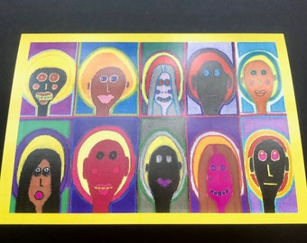Any Occasion Outsider Art Card   A6 Greetings Card   Jay Snelling. Alternative Christmas Card