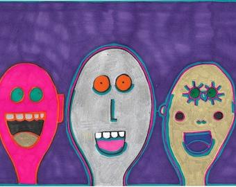 Original Drawing by Jay Snelling. Outsider Art Brut. Three Friends on Purple