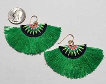 Fun Fiber Earrings in Green