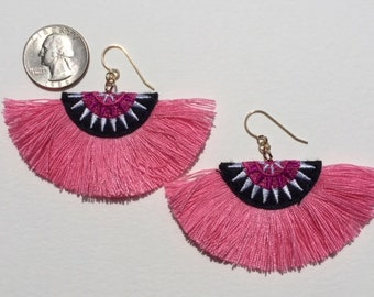 Fun Fiber Earrings in Pink