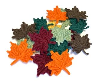 3 Crochet Maple Leaf Appliques, Autumn Fall Leaves, Decor, Applique Embellishments, Variety of Colors
