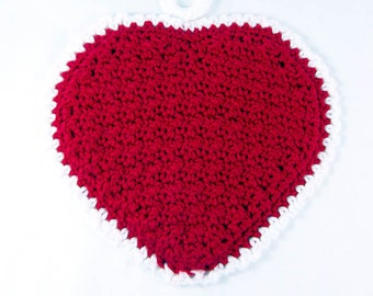 Crochet Heart Potholder, Trivet, Hot Pad, Doily for the Kitchen, in Red and White. Gifts for Her, Mothers Day, Valentines Day