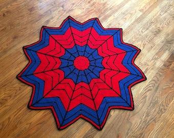 """Spider-Man Blanket, Baby-Toddler-Lap Blanket, Super Hero Blanket, 48"""" Across, Handmade"""