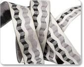 Rickrack Satin Ribbon in Black and Ivory
