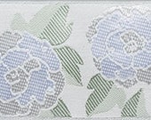 Camellia ribbon, white on white satin, gorgeous woven brocade