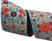 Turquoise blue Suzani Ribbon - intricate woven brocade design - retired and rare design
