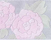 Camellia ribbon, pink on silvery white satin, gorgeous woven brocade